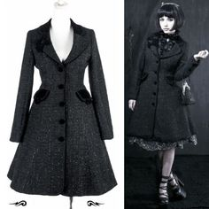 Black Vintage Style Victorian Gothic Lolita Fashion Jacket Coats Windbreakers