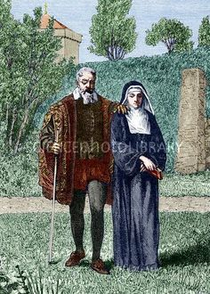 Galilei Galileo (1564-1642), Italian physicist and astronomer, being guided by his daughter Maria Celeste (1600-1634), a nun. In 1633, Galileo was tried for heresy by the Roman Catholic Church for his support of the heliocentric Copernican theory. He was kept under house arrest for the rest of his life and later went blind. Artwork from Les Martyrs de la Science (G. Tissandier, 1882)