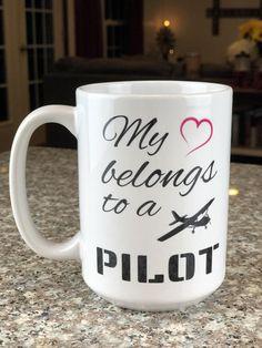15 oz Mug // Personalized Mug // Custom Quote Mug // Large Mug // Birthday Gift // Gift for Her // My Heart Belongs to a Pilot // Pilot Mug Gifts For Her, Great Gifts, Glitter Wine, Personalized Wine, Wine Tumblers, Golden Girls, Fun Crafts, My Heart, I Shop