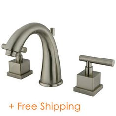 """Two Handle 8"""" to 16"""" Widespread Lavatory Faucet with Brass Pop-up Satin Nickel KS2968CQL"""