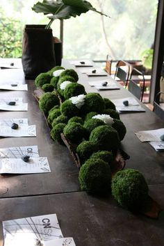 CNFlower. Bark, moss balls and white flowers centerpiece  https://www.facebook.com/cnflower/photos/pb.335767801671.-2207520000.1460982977./10153981589051672/?type=3&theater