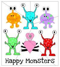 Happy Monster Preschool Theme lessons - Free monster printables, list of monster books