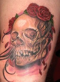 Skull with roses on the head