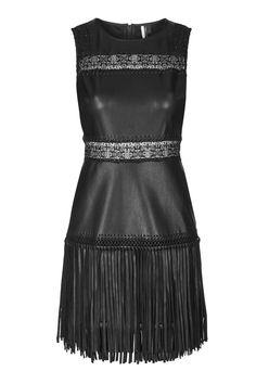 PU Appliqué Trim Fringe Dress - Topshop Fringe Dress 116714128