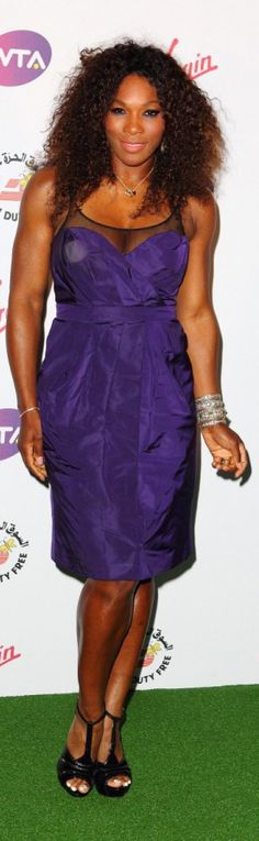 Serena Williams wearing Burberry to the Women's Tennis Association Pre-Wimbledon party in London