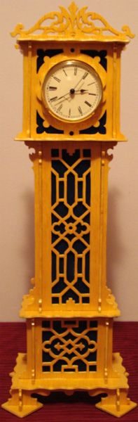 Chippendale grandfather clock, scroll saw fretwork pattern