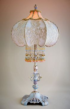 Nightshades -Cinderella Lampshade with Silver Lace