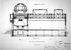 Joseph Maria Olbrich, Vienna Secession Building, 1898. Corte longitudinal.