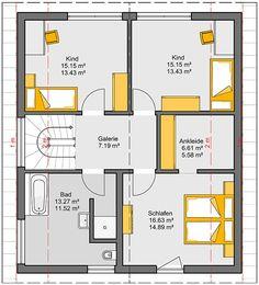 Fertighaus Camaro Grundriss EG Family House Plans, Modern House Plans, House Floor Plans, Architecture Plan, Building Plans, Old Houses, Small Bathroom, Bungalow, Sweet Home