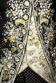"sky-dance: "" XVIII century embroidery @nahdedeux @iddressinspo "" *swoon* Just imagine - embroidered lilies of the valley nestled between Celtic knotwork. Or false embroidered flower buttons. So cool!"