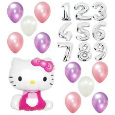 Girl Birthday Party Supplies Hello Kitty Giant Numbers Foil pink Balloon Bouquet…