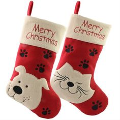 CROV Dropshipping #Christmas Stockings Cat Dog Pattern Home Decoration Gifts for #Kids Christmas Decor Pet Christmas Stockings, Pet Stockings, Christmas Stocking Pattern, Christmas Bags, Noel Christmas, Christmas Animals, Christmas Puppy, Christmas Decorations For Kids, Dog Pattern