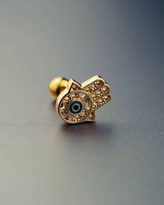 tragus earring tragus piercing tragus stud gold conch piercing fatima's palm vintage unique boho bohemian jewelry 20g