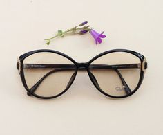 ea1dcfabfc7 80s SAPHIRA frames   Vintage cateye eyeglasses   black and gold glasses    German rhinestone sunglasses   deadstock designer optical eyewear