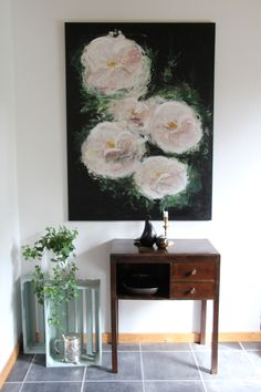 Stærkt og feminint maleri Lyserødt  Blomster maleri painting