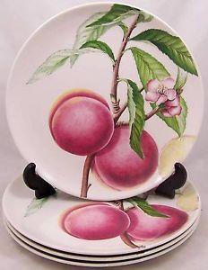 4 Portmeirion Eden Fruits Dinner Plates Peach New   eBay