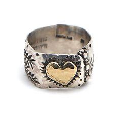 Margaret Sullivan Sterling Silver and Gold Heart Ring at Maverick Western Wear
