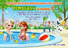 Pool Party Frozen Pool Party Frozen Invitation by BogdanDesign