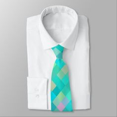 Turquoise Teal Blue Green Pink Yellow Pattern Neck Tie - pattern sample design template diy cyo customize