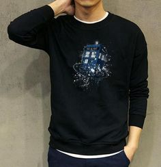 Mens Doctor Who sweatshirt fleece for winter Tardis printed xxxl
