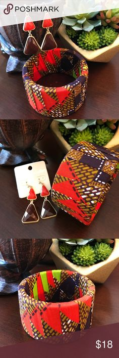 """Bangle Set Ankara wrapped 2""""Wide D. Green Designs bangle coordinated with Chic Gallery gold tone metal pierced 2.25""""L earrings. Elegant splash of color to enhance your fall appealing wardrobe. D.Green Designs Jewelry Bracelets"""
