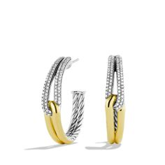 Labyrinth Hoop Earrings with Diamonds and Gold. $2,450 •Sterling silver and 18-karat yellow gold -•Pavé diamonds, 0.62 total carat weight•30mm interior diameter- Earring, 30 x 30mm. For more information call Liljenquist  Beckstead Jewelers at 800-719-1190 or visit http://www.liljenquistbeckstead.com/