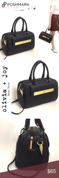 """Olivia + Joy Satchel in Black/Gold Brand new with tags. This satchel by Olivia and Joy is simply gorgeous! Made from quality woven faux leather, this bag has it all. So incredibly chic! Features top zip closure; dual rolled handles; gold tone hardware; front exterior turn lock flat pocket; back exterior magnetic snap slip pocket; 2 interior slip pockets and one zip pocket. Measures 12.7W x 6.6""""D x 9""""H. Comes with removable shoulder strap. Reasonable offers welcome 😊 Olivia + Joy Bags…"""