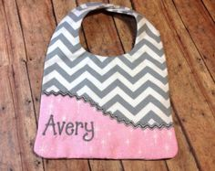 Gray Chevron Personalized Bib / Monogrammed Bib / Reversible Embroidered Baby Bib / Baby Shower Gift