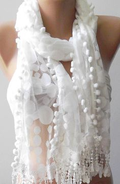White  Elegance  Shawl / Scarf with Lacy Edge by womann on Etsy, $19.90