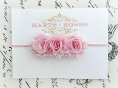 Baby Girl Headbands..Mini Pink Shabby Flower Headband..Newborn Headbands..Infant Headbands..Shabby Flower Headbands..Baby Headbands..