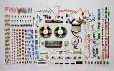 Dismantled clock radio components wallpaper