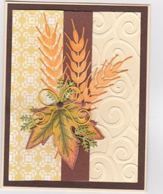 Fall card with leaf from HCD Falling leaves set. The wheat is a die cut from IO.