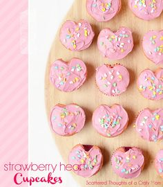 Strawberry heart cupcakes by a Crafty Mommy, featured on iheartnaptime.net #top20
