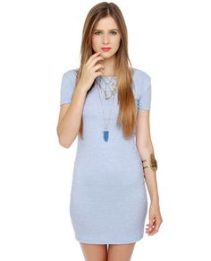 Photogenic Short Sleeve Light Blue Dress