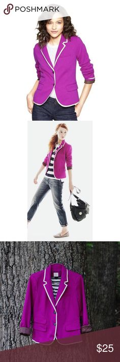 Gap The Academy purple blazer with white trim Beautiful purple color - can be dressed up for work or down with jeans. Lining has a cute pattern in brown and mini polka dots. Used just a couple of times. As featured during Fall 2016 in Southern Charm TV Show.                           ● 20% off bundles of 3 or more items ● No trades/No holds/No transactions outside Poshmark ● Smoke free home GAP Jackets & Coats Blazers