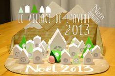 Un village calendrier de l'avent tout en papier, les gabarits sont à télécharger / papertoy advent calendar to download and make