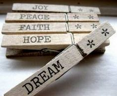 Clothespin words - inspirational stamped clothespins, organize computer wires, make a spelling game, or create clothespin storage clips with stamped or decoupaged labels.