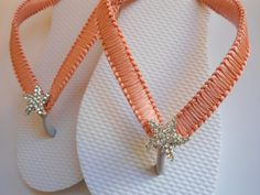 Coral beach wedding flip flops, great gift for bridesmaids!!!