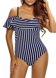 9dad67c259064 2017 Summer Women Swimsuit One Piece Swimwear Striped Ruffles Push Up  Monokini Bathing Swim Suit For Women Thong Swimwear Sexy