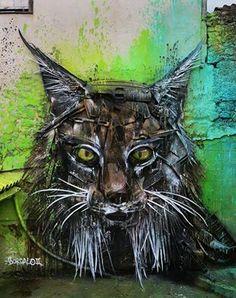 "Bordalo II / Bordalo Segundo, ""Iberian lynx"", Portugal, 2016"