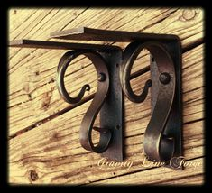 Custom forged iron decor, farmhouse style, rustic, unique home decor Shelf Brackets Modern, Metal Shelves, Shelving, Wood Brackets, Book Shelves, Blacksmith Shop, Blacksmith Projects, Wood And Metal, Metal Art