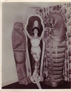 Publicity still of actress Yvonne Furneaux, behind the scenes of Hammer Films' THE MUMMY (1959).