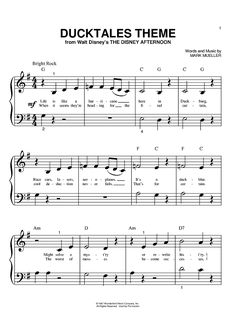 Digital Sheet Music for DuckTales Theme by Mark Mueller scored for Big Note Piano; Clarinet Sheet Music, Saxophone Music, Ukulele Songs, Piano Sheet Music, Violin, Cello, Music Sheets, Printable Sheet Music, Digital Sheet Music