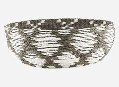 Ld0110 - Kurv, Pattern, grå/hvid, dia.: 35 cm, h.: 12 cm