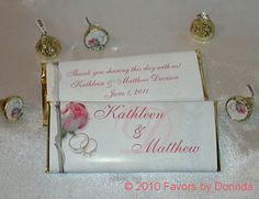 Rose n' Rings wedding candy bar wrapper favor by Favors by Dorinda
