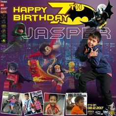 My cousins' son birthday tarpaulin layout. One of my best creations. 7th Birthday, Happy Birthday, Tarpaulin, Justice League, Cousins, Sons, I Am Awesome, Lego, Comic Books