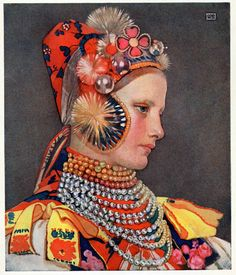 Slovak Girl in Sunday Attire, 1909 by Marianne Stokes on Curiator, the world's biggest collaborative art collection. Art Magique, Pop Art, John Everett Millais, Religious Paintings, Pre Raphaelite, Art Moderne, Old Antiques, Print Pictures, Watercolor Art