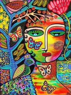 Butterfly Goddess Tree of Life' – SILBERZWEIG ORIGINAL Art PRINT – Mexican, Angel, Peacock, Fish, Flowers, Talavera