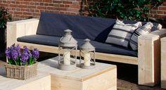 Steigerhouten loungebank bouwtekening en voorbeelden van steigerhout banken met bouwbeschrijving