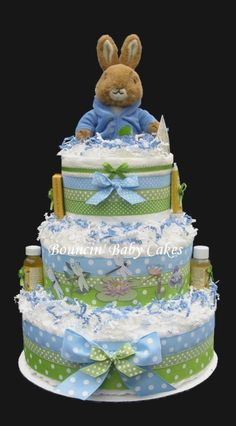 Items similar to Peter Rabbit Baby Shower Diaper Cake/ Centerpiece Gift on Etsy Bebe Shower, Baby Shower Niño, Baby Shower Diapers, Shower Party, Baby Shower Cakes, Baby Shower Parties, Baby Shower Themes, Baby Shower Gifts, Shower Ideas